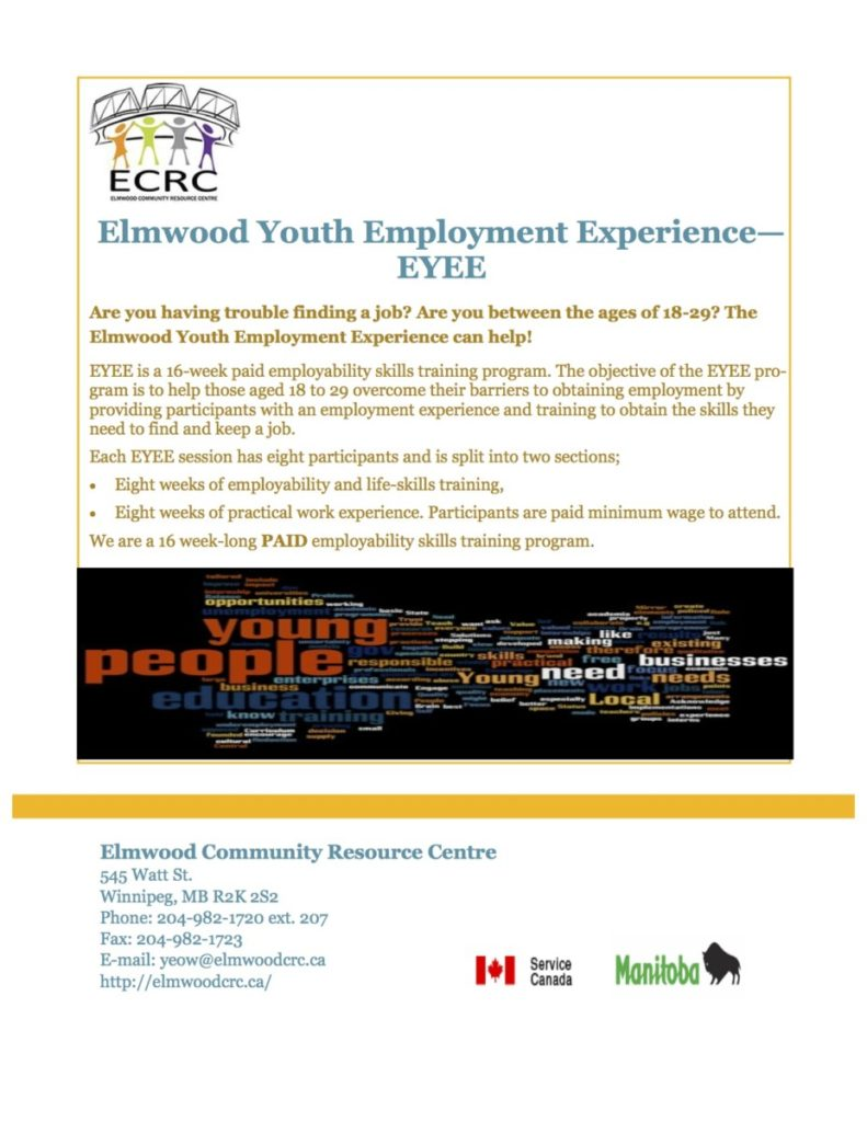elmwood youth employment experience eyee elmwood resource centre eyee poster